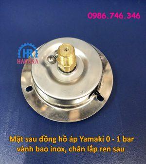 Mặt sau đồng hồ áp Yamaki 0 - 1 bar vành bao inox chân lắp ren sau