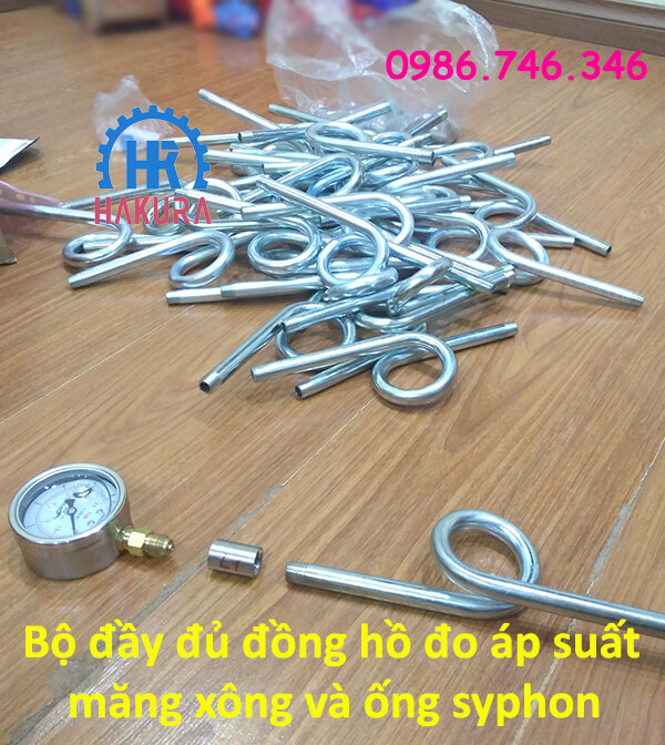 Bộ đầy đủ đồng hồ đo áp suất, măng xông và ống siphon