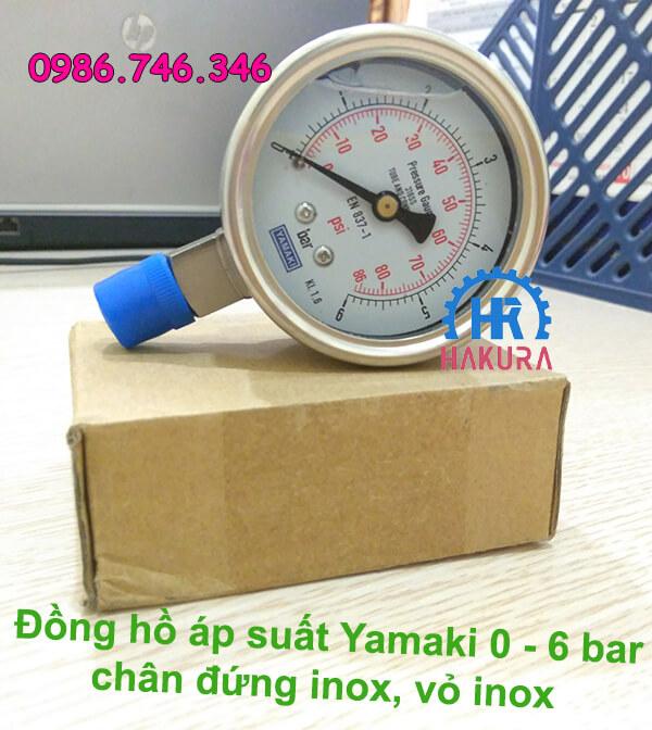 Đồng hồ áp suất Yamaki 0 - 6 bar chân đứng inox, vỏ inox