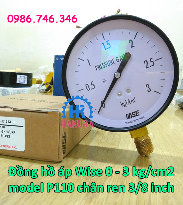 Đồng hồ áp Wise 0-3 kg/cm2 model P110 chân ren 3/8 inch