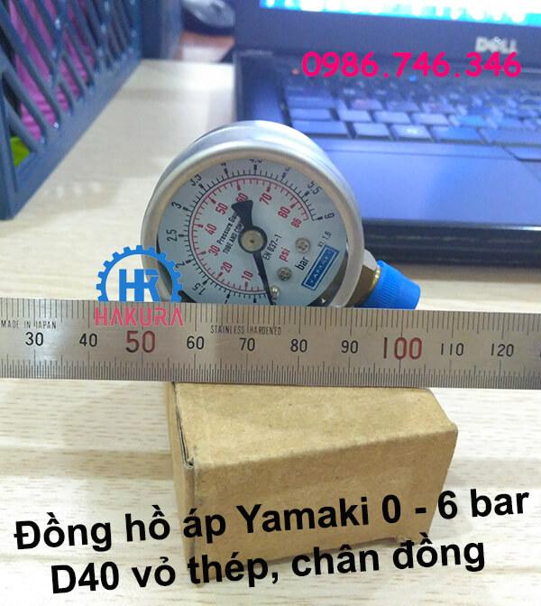 Đồng hồ áp Yamaki 0 - 6 bar D40 vỏ thép chân đồng