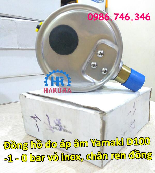 Đồng hồ đo áp âm Yamaki D100 dải đo -1 – 0 bar vỏ inox chân ren đồng
