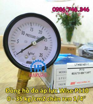 Đồng hồ đo áp lực Wise P110 0-35 kg.cm2 chân ren 1/4 inch