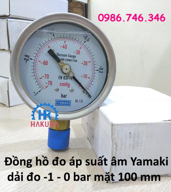 Đồng hồ áp suất âm Yamaki dải đo -1 – 0 bar mặt 100 mm
