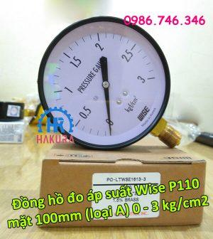 Đồng hồ đo áp suất Wise P110 mặt 100 mm (loại A) 0-3 kg/cm2