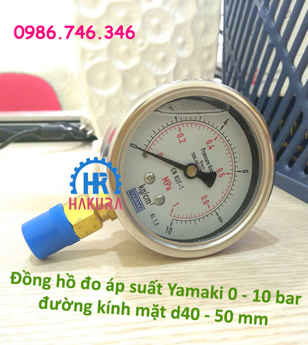 Đồng hồ đo áp suất Yamaki 0 - 10 bar đường kính mặt D40 - 50mm