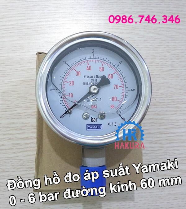 Đồng hồ đo áp suất Yamaki 0 - 6 bar đường kính mặt 60 mm