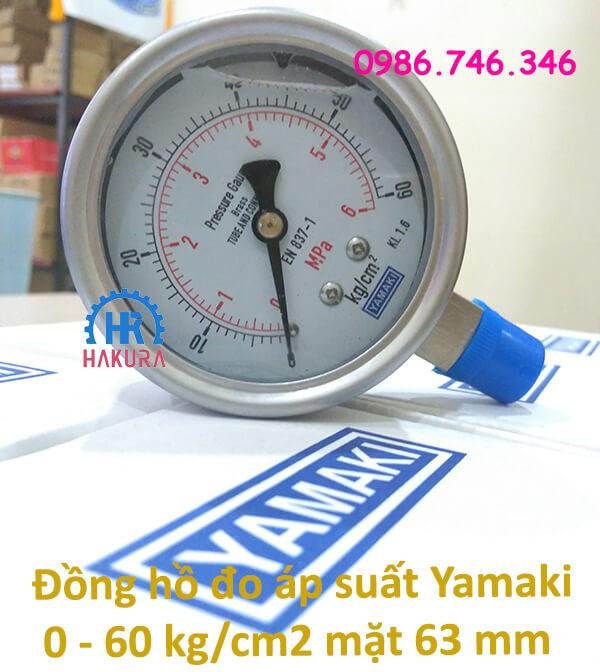Đồng hồ đo áp suất Yamaki 0 - 60 kg/cm2 mặt D63 mm
