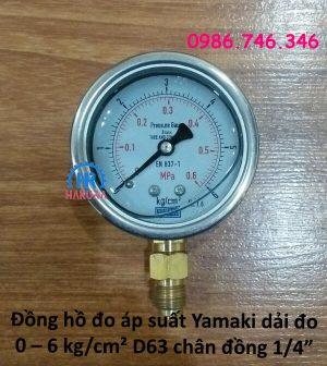 """Đồng hồ đo áp suất Yamaki dải đo 0 – 6 kg/cm² D63 mm, chân ren đồng 1/4"""""""