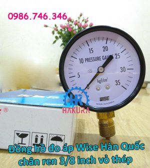 Đồng hồ đo áp Wise Hàn Quốc chân ren 3/8 inch vỏ thép