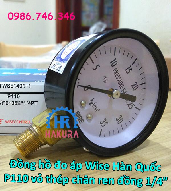 Đồng hồ đo áp Wise Hàn Quốc P110 vỏ thép chân ren đồng 1/4 inch