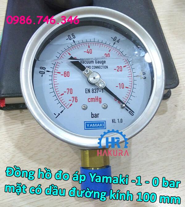 Đồng hồ đo áp Yamaki -1 – 0 bar, mặt có dầu đường kính 100 mm