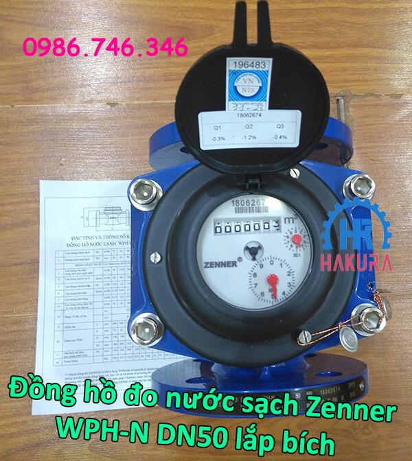 """Đồng hồ đo nước sạch Zenner WPH-N DN50 lắp bích 2"""""""