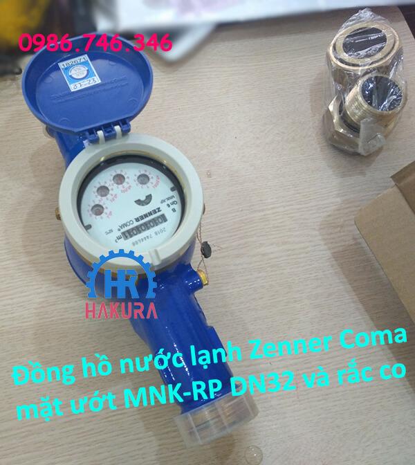 Đồng hồ nước lạnh Zenner Coma mặt ướt MNK-RP DN32 và bộ rắc co