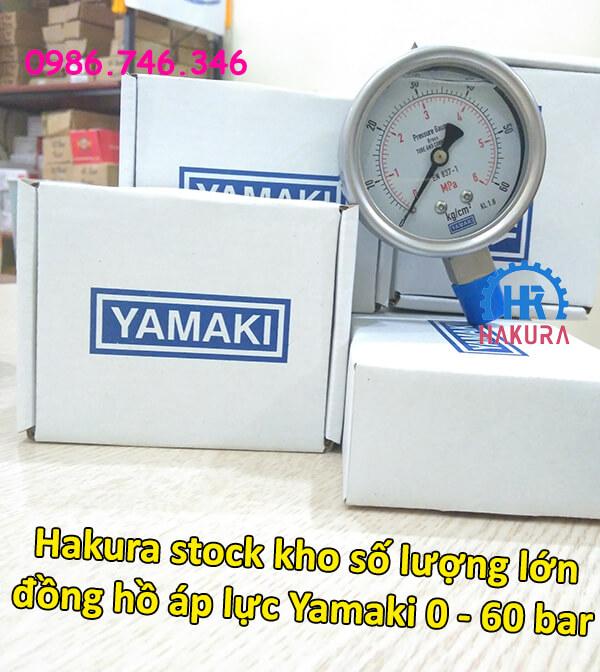 Hakura stock kho số lượng lớn đồng hồ áp lực Yamaki 0 - 60 bar