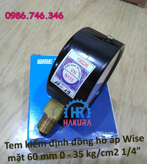 Tem kiểm định đồng hồ đo áp Wise mặt 60mm 0-35 kg/cm2 1/4 inch