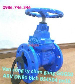Van cổng ty chìm gang cầu GGG50 ARV DN80 bích tiêu chuẩn BS4504 pn16