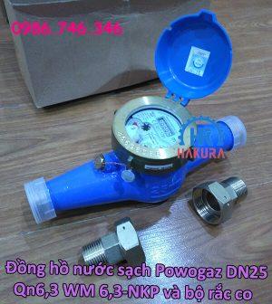 Đồng hồ nước sạch Powogaz DN25 Qn6,3 WM 6,3-NKP kèm bộ rắc co 2 đầu