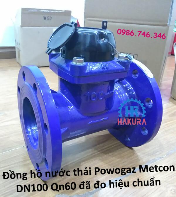 Đồng hồ nước thải Powogaz-Metcon DN100 Qn60 đã đo hiệu chuẩn