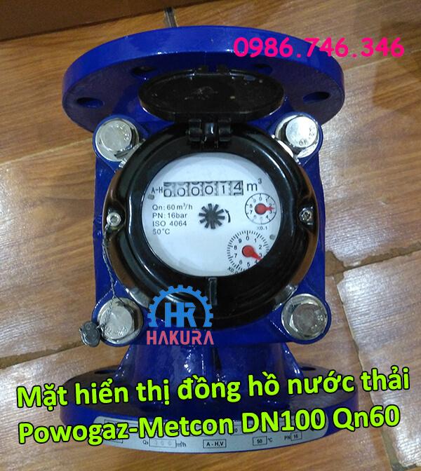 Mặt hiển thị đồng hồ nước thải Powogaz-Metcon DN100 Qn60