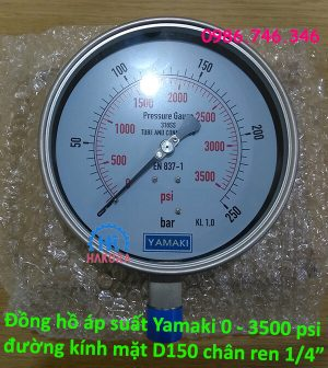 """Đồng hồ áp suất Yamaki 0 – 3500 psi đường kính mặt D150, chân ren 1/4"""""""