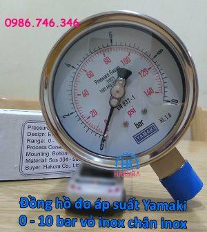 """Đồng hồ đo áp suất Yamaki 0 – 10 bar D100 vỏ inox chân ren inox 1/2"""""""