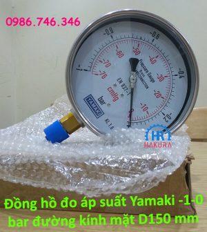 Đồng hồ đo áp suất Yamaki -1 – 0 bar đường kính mặt D150 mm