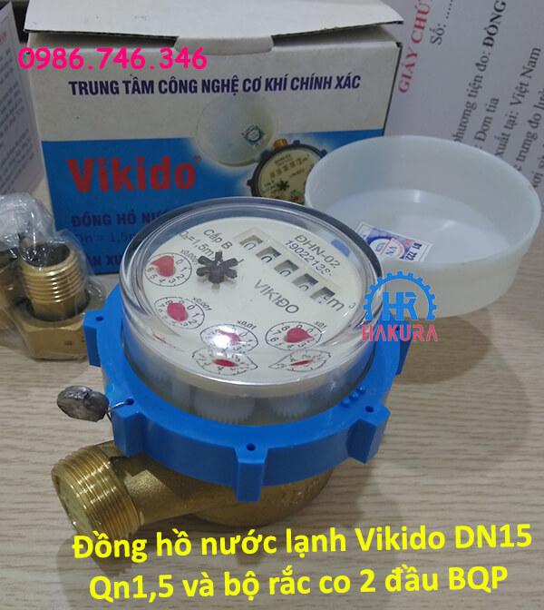 Đồng hồ nước lạnh Vikido DN15 Qn1,5 và bộ rắc co 2 đầu Bộ quốc phòng