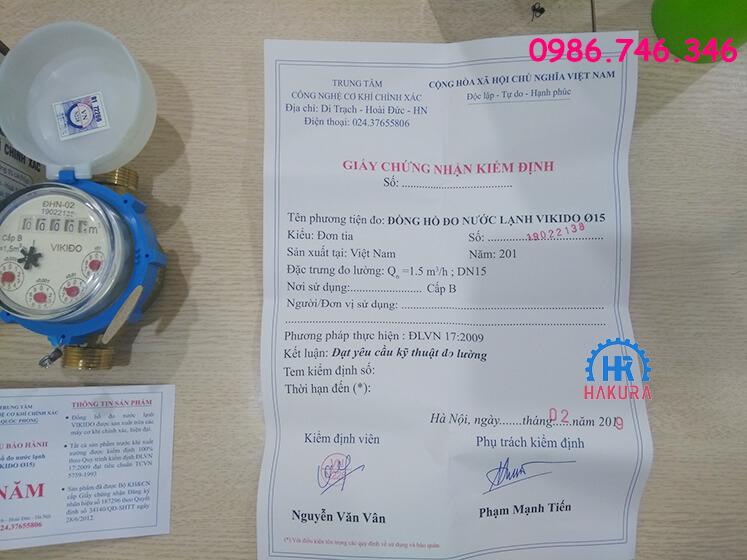 Giấy chứng nhận kiểm định đồng hồ nước sạch Vikido Bộ quốc phòng DN15
