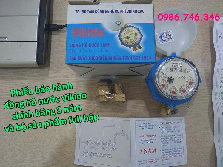 Phiếu bảo hành đồng hồ nước Vikido chính hãng 3 năm cùng bộ sản phẩm full hộp