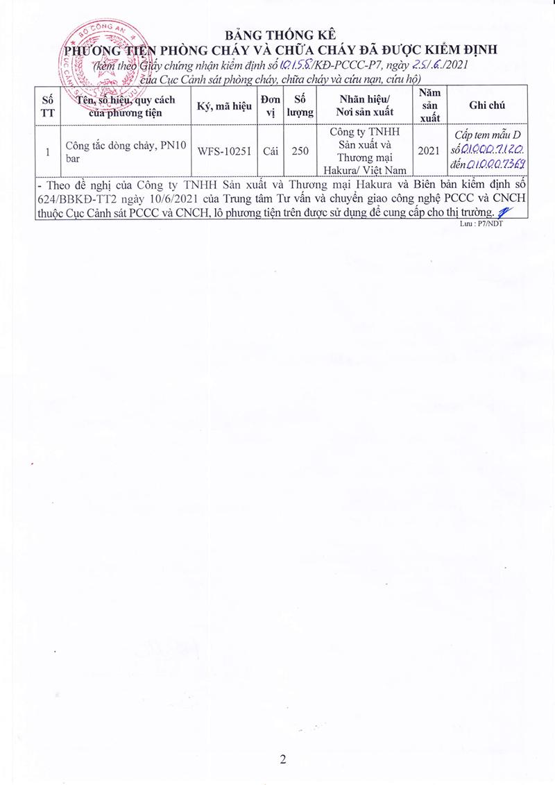 Giấy chứng nhận kiểm dịnh PCCC công tắc dòng chảy WFS-1025I trang 2