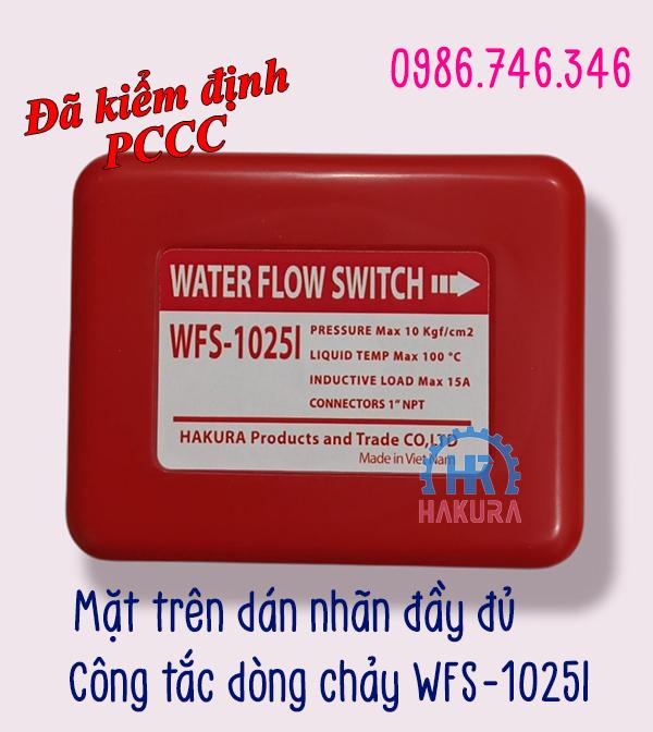 Mặt trên dán nhãn công tắc dòng chảy WFS-1025I